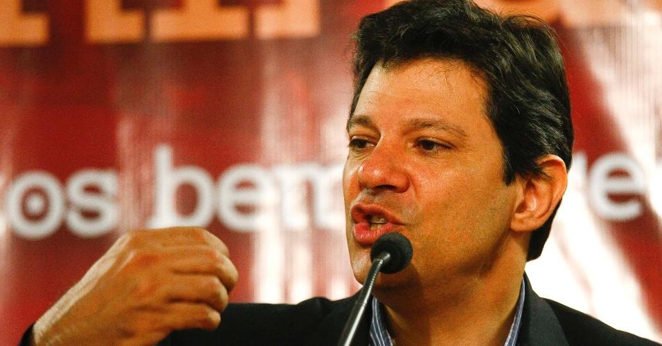O pré-candidato a prefeito de SP, Fernando Haddad, durante seminário O Modo Petista de Governar, na Assembleia Legislativa