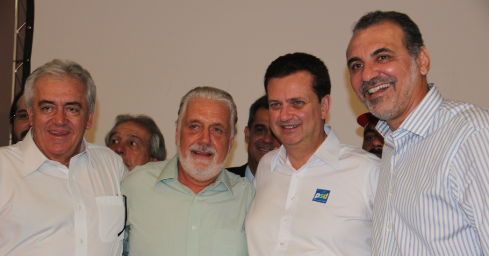 Da esquerda para a direita: o vice-governador da Bahia, Otto Alencar (PSD), o governador Jaques Wagner (PT), Gilberto Kassab (PSD) e deputado federal Nelson Pelegrino (PT-BA)