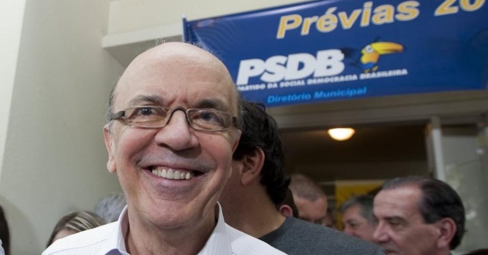 Ex-governador do Estado de São Paulo, José Serra, concedeu uma entrevista coletiva para jornalistas após votar nas prévias do PSDB para a Prefeitura de SP em zona eleitoral do Alto de Pinheiros, neste domingo. Ele é considerado favorito na disputa
