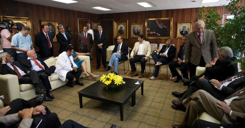 O pré-candidato do PT à Prefeitura de São Paulo, Fernando Haddad, participa de encontro com vereadores na Câmara Municipal da cidade