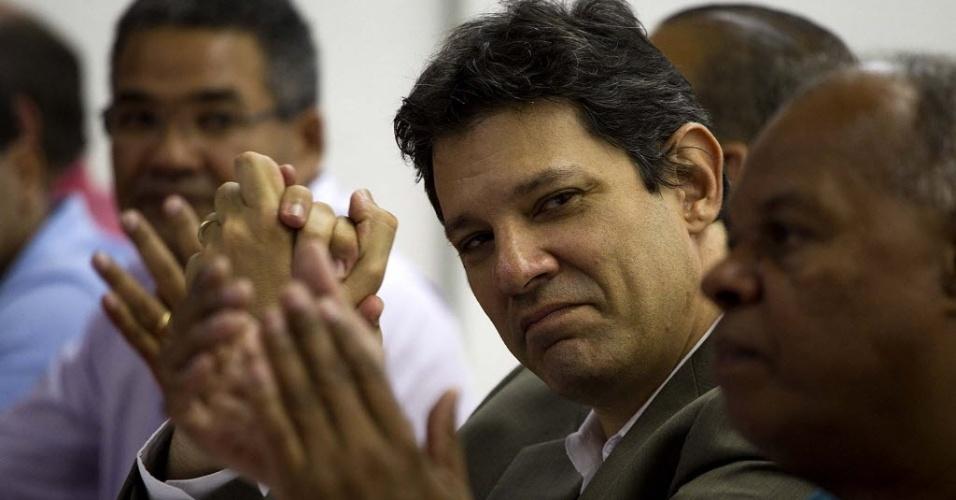 Pré-candidato do PT á Prefeitura de São Paulo, Fernando Haddad, participa de evento com  com sindicalistas, no Sindicato dos Químicos de São Paulo