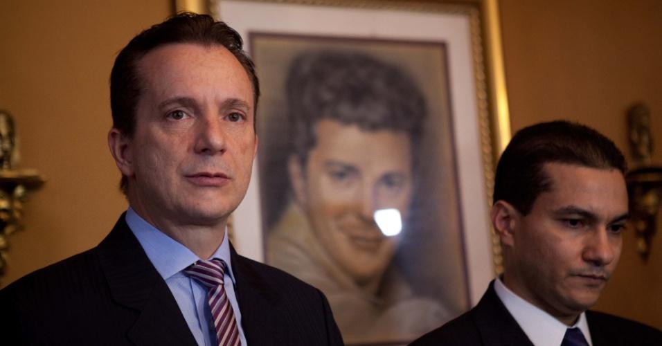 7.mai.2012 - Celso Russomanno reafirma intenção de ser candidato à Prefeitura de São Paulo pelo PRB, ao lado do presidente do partido, Marcos Pereira