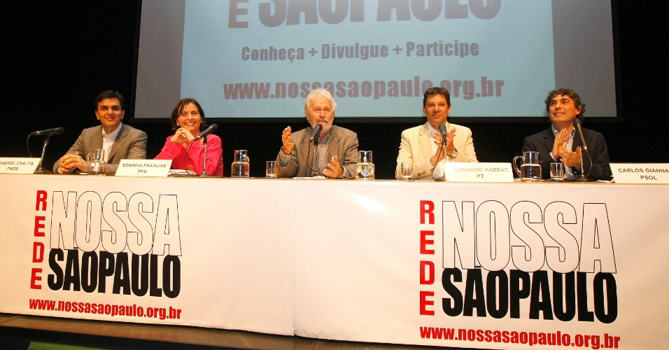 28.jun.2012 - Os candidatos &#224; Prefeitura de S&#227;o Paulo Gabriel Chalita (PMDB), Soninha (PPS), Fernando Haddad (PT) e Carlos Giannazi (PSOL) participaram de debate na Rede Nossa S&#227;o Paulo para avaliar os planos de metas da gest&#227;o Kassab. A ONG organizou o ato no teatro do Sesc Consola&#231;&#227;o