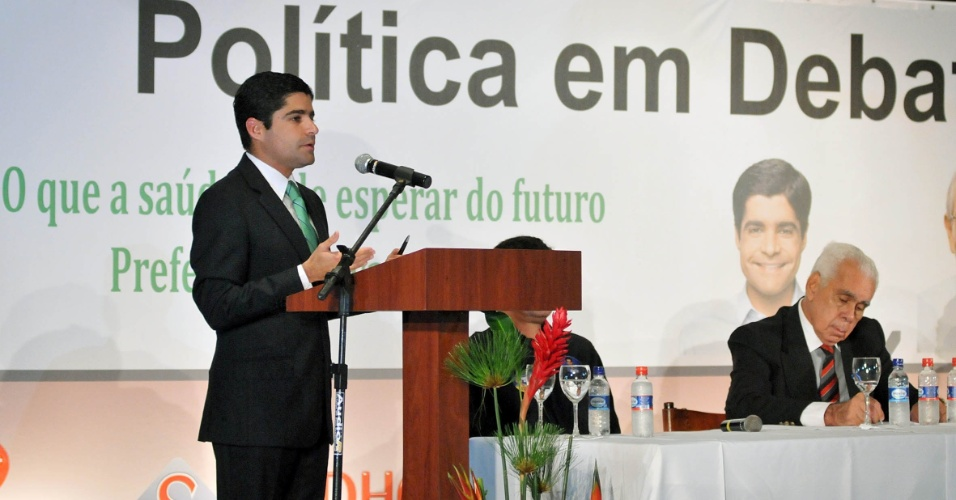 5.set.2012 - ACM Neto, candidato do DEM &#224; Prefeitura de Salvador, participou nesta quarta-feira de um caf&#233; da manh&#227; organizado pela Federa&#231;&#227;o Baiana de Sa&#250;de, na regi&#227;o do Iguatemi