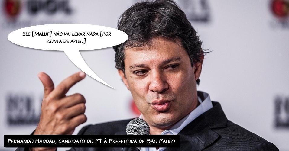 """""""Ele [Maluf] não vai ganhar nada [por conta de apoio]"""", afirmou o candidato do PT à Prefeitura de São Paulo quando questionado sobre o apoio dado à sua candidatura por parte do PP, de Paulo Maluf"""