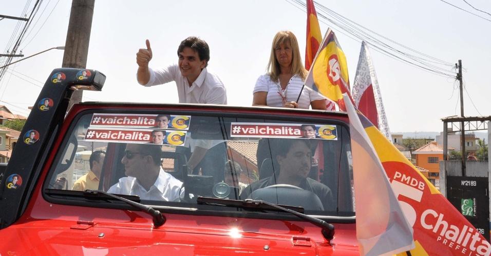 16.set.2012 - O candidato do PMDB à Prefeitura de São Paulo, Gabriel Chalita, participa de carreata na zona leste da capital paulista