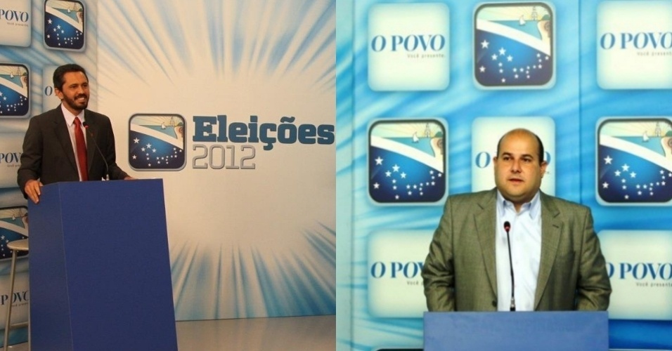 18.out.2012 - Os candidatos &#224; Prefeitura de Fortaleza Elmano de Freitas (PT) (&#224; esq.) e Roberto Claudio (PSB) se enfrentaram no debate do jornal &#34;O Povo&#34; na noite desta quinta-feira