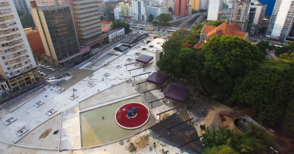 Obras de revitalização da praça Roosevelt, no centro de São Paulo. A Prefeitura deve entregar a obra no segundo semestre deste ano