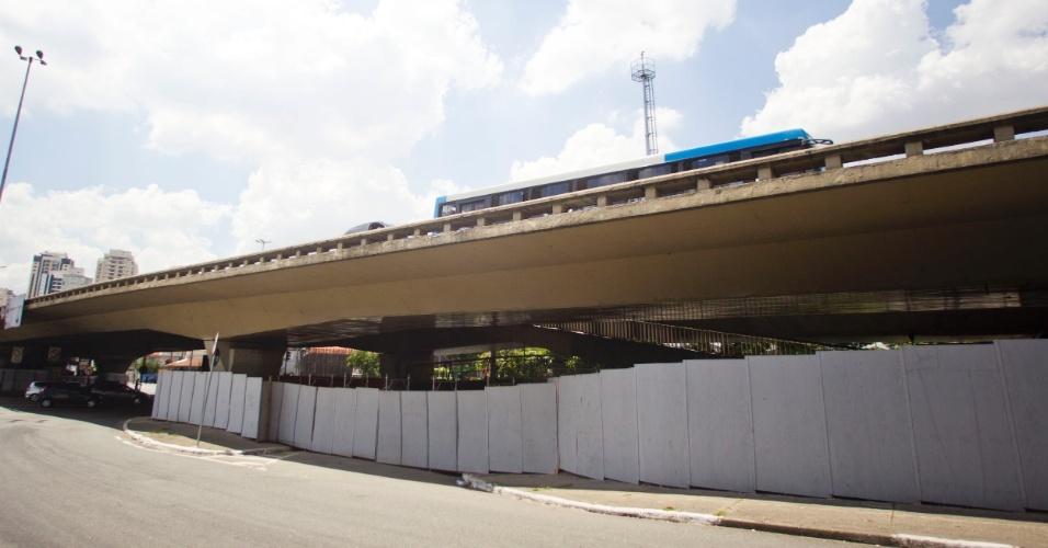 Obras no viaduto Santo Amaro, na zona sul de São Paulo