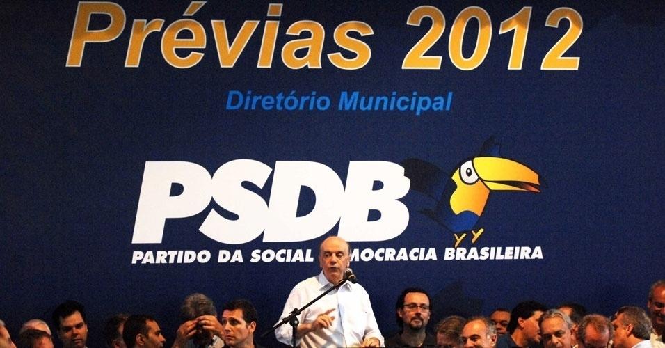 José Serra venceu as prévias tucanas em São Paulo com 52% dos votos e será o candidato da legenda na disputa municipal. Durante discurso, o candidatoafirmou que começará campanha prestando contas do que o partido fez para a capital paulista e para o Estado