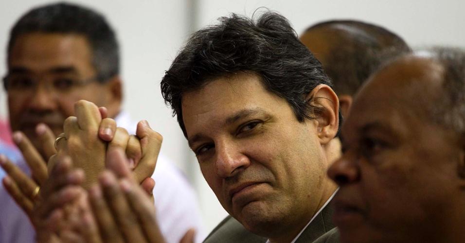 O pré-candidato do PT à Prefeitura de São Paulo, Fernando Haddad, durante plenária com sindicalistas, no Sindicato dos Químicos de São Paulo