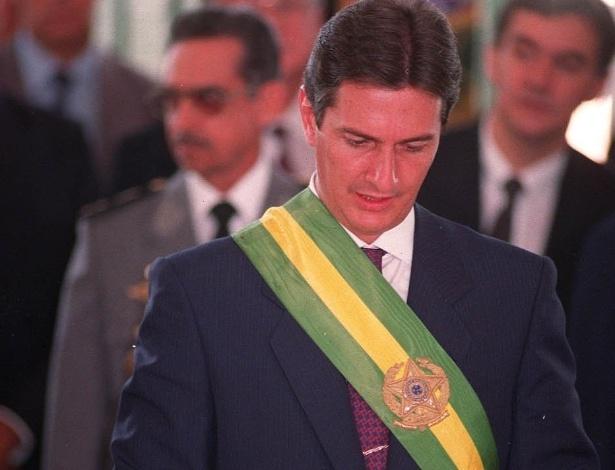15 mar. 1990 - Posse do presidente Fernando Collor de Mello. Ele foi eleito ao vencer Luiz Inácio Lula da Silva, com pouco mais de 50% dos votos