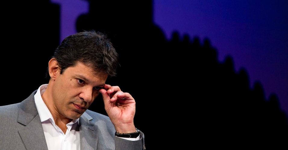 Pré-candidato à prefeitura de Sao Paulo pelo PT, Fernando Haddad participa de sabatina do portal SBT/Terra