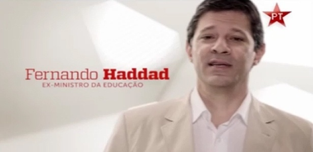 Fernando Haddad, ex-ministro da Educação e pré-candidato do PT à Prefeitura de São Paulo, participa de propaganda política da sigla na TV