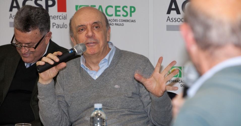 15.mai.2012- José Serra (PSDB), pré-candidato à Prefeitura de São Paulo, faz palestra na Associação Comercial de São Paulo, Zona Oeste da capital