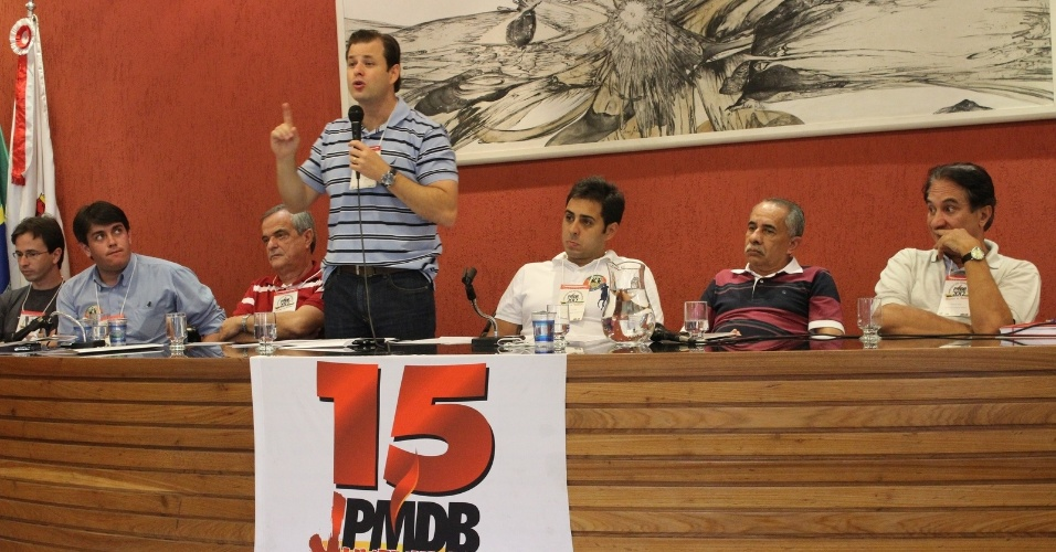 20.mar.2012 - Leonardo Quintão, pré-candidato do PMDB à Prefeitura de Belo Horizonte, discursa durante evento da juventude do partido. Em segundo lugar nas pesquisas de opinião, ele tem a preferência de 12,7% do eleitorado