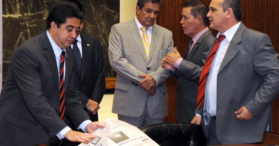 21.mar.2012 - O pré-candidato do PDT à Prefeitura de Belo Horizonte, deputado estadual Sargento Rodrigues, discursa na Assembléia de Minas Gerais. No melhor cenário possível, ele conta com a preferência de 5,1% do eleitorado