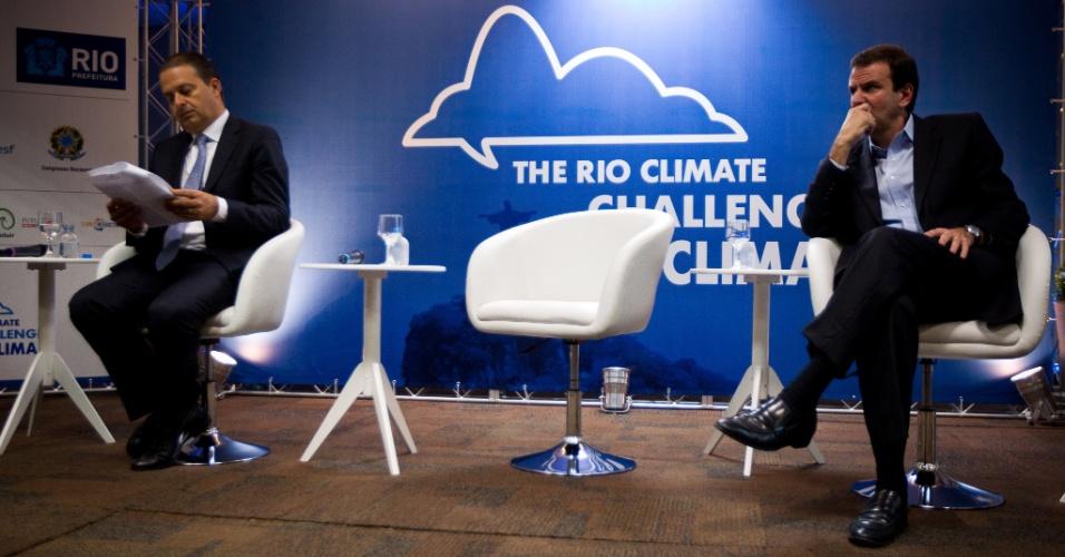 14.jun.2012 - O governador de Pernambuco, Eduardo Campos (PSB), e o prefeito do Rio de Janeiro, Eduardo Paes (PMDB), participaram do evento Rio/Clima, durante a conferência Rio+20