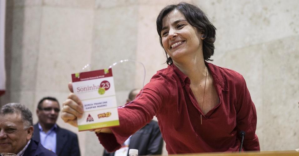 23.jun.2012 - Convenção do PPS lança a candidatura da vereadora Soninha Francine à Prefeitura de São Paulo, com a coligação PPS-PMN
