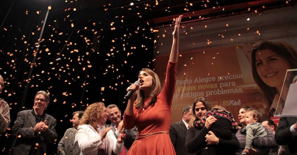 23.jun.2012 - O PC do B lançou a candidatura da deputada federal Manuela D'Ávila à Prefeitura de Porto Alegre