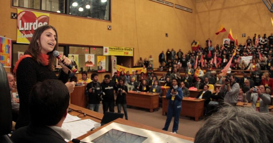 24.jun.2012 - A candidata do PC do B, Manuela D'Ávila, participou da convenção do PSB, em Porto Alegre. O PSB faz parte da coligação de Manuela
