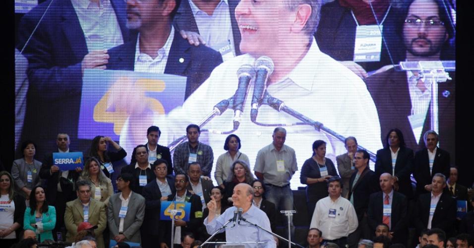 """24.jun.2012 - José Serra é homologado como candidato do PSDB à Prefeitura de São Paulo. O jingle de sua campanha é uma versão da música """"Eu Quero Tchu, Eu Quero Tcha"""" e foi apresentada durante a convenção tucana, realizada no auditório Mauro Pinheiro, em São Paulo"""