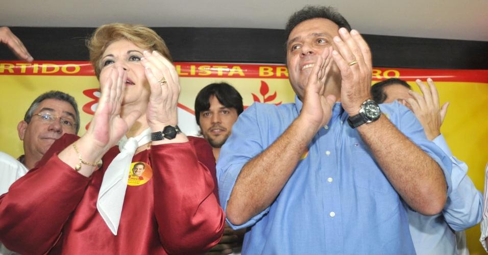 O deputado federal Fábio Faria, vice-líder do PSD na Câmara de Natal, aparece entre Wilma de Faria (PSB) e Carlos Eduardo (PDT), candidato à Prefeitura de Natal