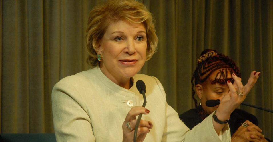 29.jun.2012 - A senadora Marta Suplicy concedeu entrevista coletiva. Ela sinalizou que não deverá participar da campanha de Fernando Haddad à Prefeitura de São Paulo, e que dará preferência ao seu trabalho no senado