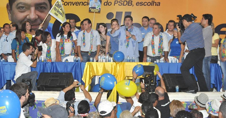 30.jun.2012 - Guilherme Maluf teve sua candidatura à Prefeitura de Cuiabá oficializada em convenção do PSDB. Até o momento, o partido está coligado com mais quatro partidos: DEM, PP, PTdoB, PRP e PMN. O vice do candidato ainda não foi escolhido