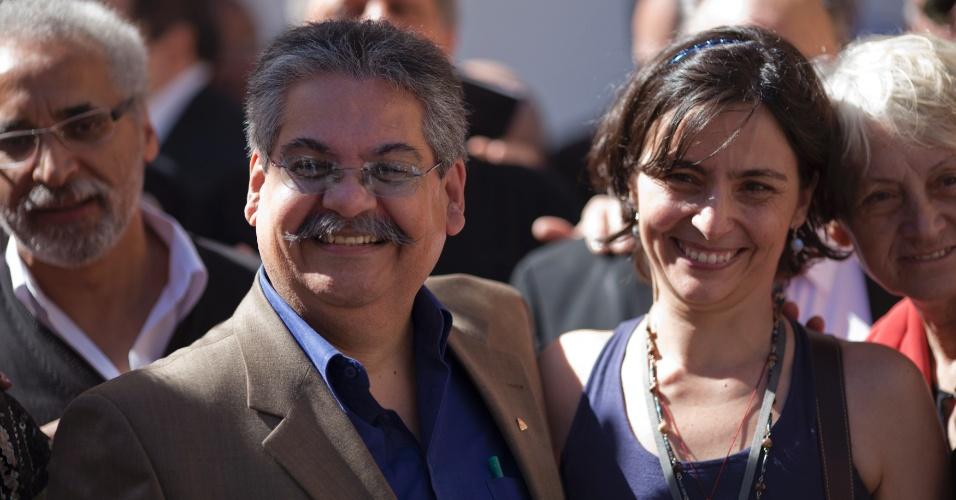 6.jul.2012 - Soninha Francine, candidata pelo PPS à Prefeitura de São Paulo, participa de caminhada no centro da cidade ao lado do seu vice, Lucas Albano (PMN)