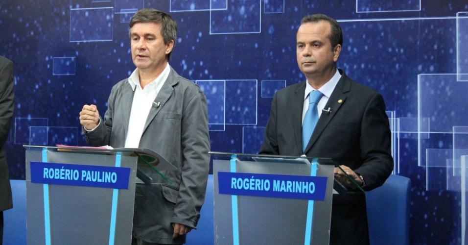 2.ago.2012 -  NATAL: Os demais candidatos a prefeito da cidade Robério Paulino (PSOL) e Rogério Marinho (PSDB) fazem suas considerações finais