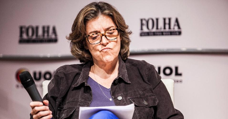15.ago.2012 - Barbara Gancia, colunista da Folha de S.Paulo questiona sobre as propostas de Soninha para o transporte de São Paulo