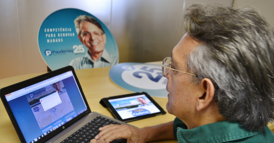 16.ago.2012 - Pauderney Avelino, candidato do DEM à Prefeitura de Manaus, lançou nesta quinta-feira seu site oficial de campanha