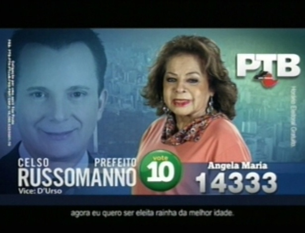 A cantora Ângela Maria (PTB) é candidata a vereadora em São Paulo