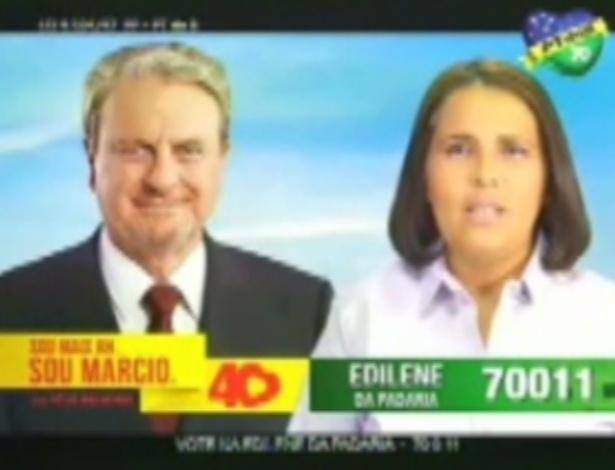 "Edilene da Padaria (PT do B), candidata a vereadora em Belo Horizonte, tem como slogan ""Sorria, vote na Edilene da Padaria"""