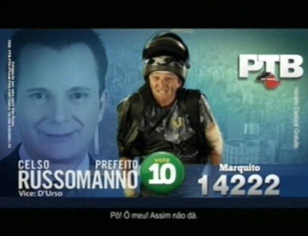 """O humorista Marquito (PTB), candidato a vereador em São Paulo, usa o slogan """"Esquisito por esquisito, vote no Marquito"""""""
