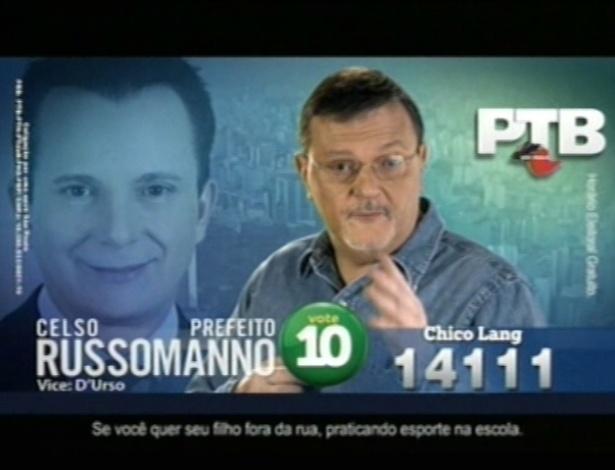 """O jornalista Chico Lang (PTB), candidato a vereador em São Paulo, afirmou ser corinthiano no horário eleitoral e usou o slogan """"Não seja zé mané, coloque um cara de atitude na Câmara"""""""