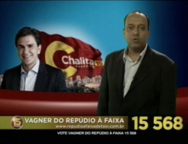 Vagner do Repúdio à Faixa (PMDB), candidato a vereador em São Paulo, usa como plataforma de campanha o fim do uso de uma faixa nos táxis da cidade