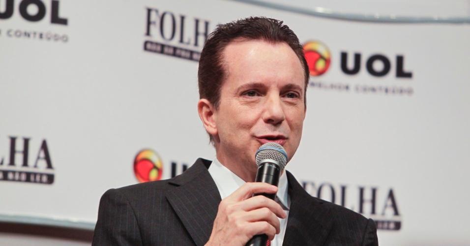 """22.ago.2012 - Durante a sabatina, Russomanno diz que Paulo Maluf """"não foi meu padrinho [político], nunca foi e nunca será"""". O candidato do PRB afirma que """"nunca teve padrinho político"""""""