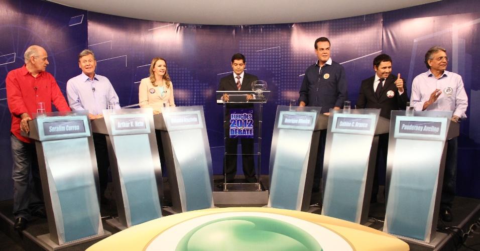 23.ago.2012 - Os candidatos à Prefeitura de Manaus participaram nesta quinta-feira de debate promovido pela TV