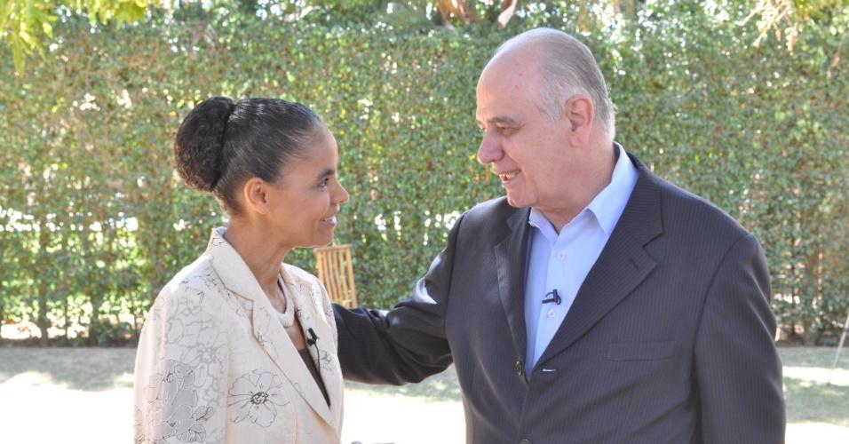 29.ago.2012 - A senadora Marina Silva (sem partido) anunciou seu apoio à candidatura de Serafim Corrêa, candidato do PSB à Prefeitura de Manaus