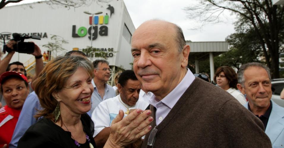 3.ago.2012 - O candidato à Prefeitura de São Paulo José Serra (PSDB) visitou a estação de transbordo de lixo Ponte Pequena