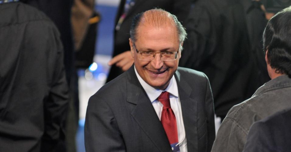 3.set.2012 - O governador de São Paulo, Geraldo Alckmin (PSDB), comparece no debate realizado pela Rede TV!, na sede da emissora em Osasco, na Grande São Paulo