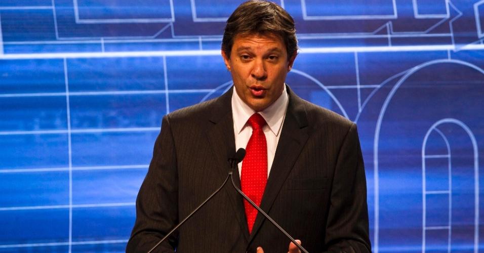 3.set.2012 - Haddad defendeu a gestão de Marta Suplicy (PT) na prefeitura de São Paulo ao lembrar da construção dos CEUs e disse que o legado da candidata ainda é lembrado na periferia paulistana