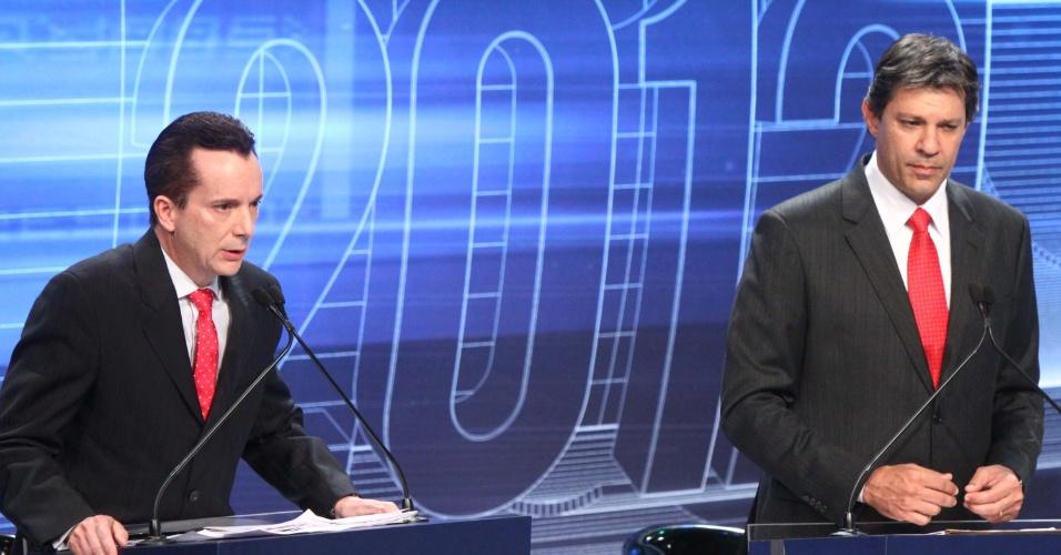 3.set.2012 - Russomanno negou ser contra a construção do Itaqueirão - estádio do Corinthians que está sendo construído em parte com renda pública - ao ser questionado por Paulinho da Força (PDT)