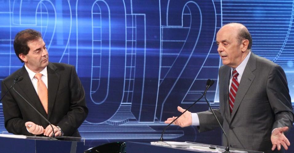 3.set.2012 - Serra justificou seu alto índice de rejeição- 43%, de acordo com pesquisa Datafolha divulgada em 29 de agosto - por ter mais anos na política do que os demais candidatos