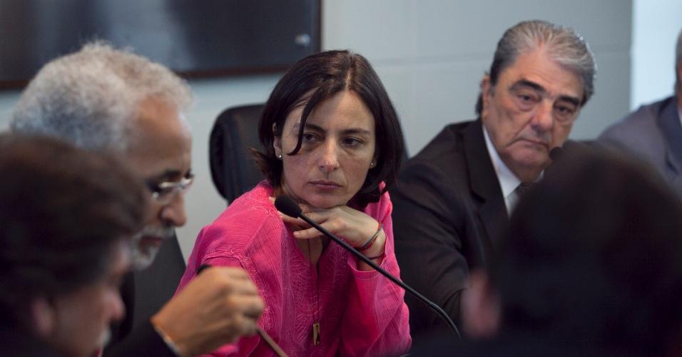 4.set.2012 - A candidata do PPS à Prefeitura de São Paulo, Soninha Francine, se reuniu nesta terça-feira com integrantes do Sindicato dos Transportadores de Carga, na Vila Maria, zona norte da capital