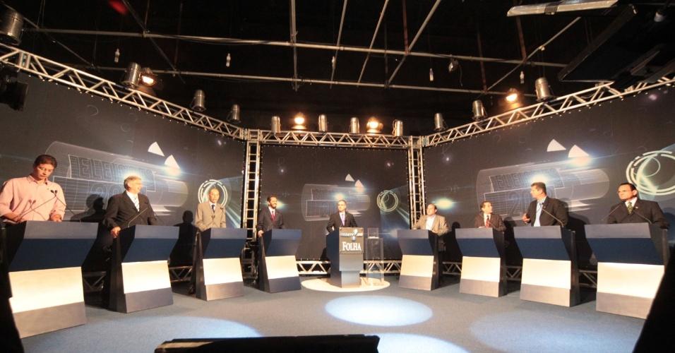 12.set.2012 - Candidatos à Prefeitura de Fortaleza participam de debate Folha/Rede TV nos estúdios da emissora, na noite de quarta-feira, na capital cearense