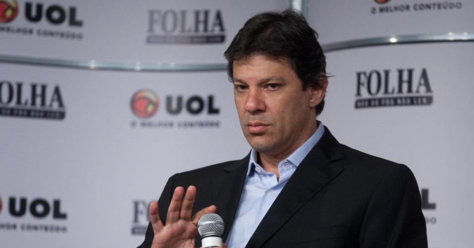13.set.2012 - O candidato do PT à Prefeitura de São Paulo, Fernando Haddad, participa da Sabatina Folha/UOL