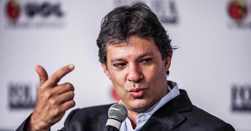 13.set.2012 - O candidato do PT à Prefeitura de São Paulo, Fernando Haddad, participa da sabatina Folha/UOL. Ele afirmou que acha
